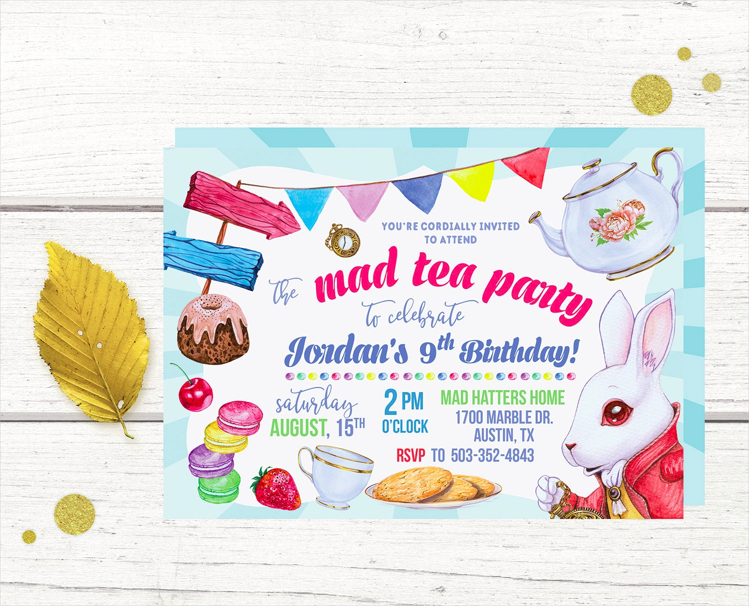 mad tea party invitation design