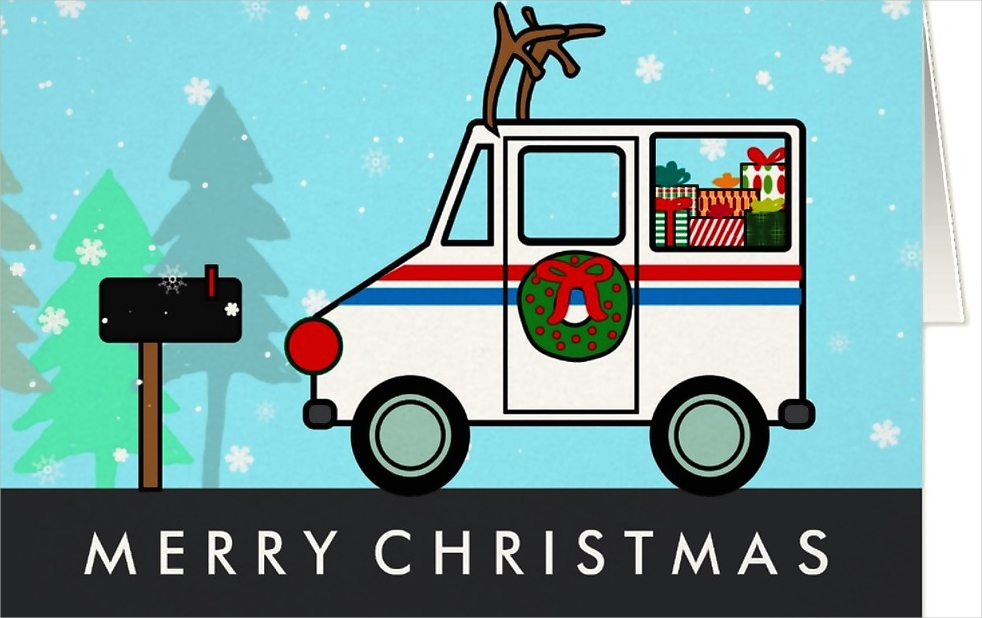 mailman christmas holiday thank you card
