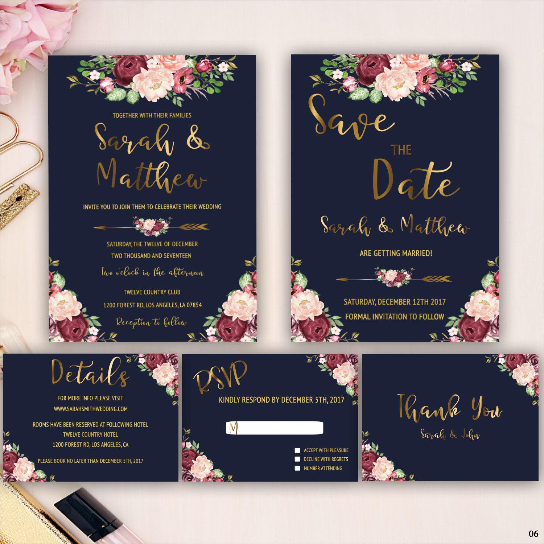 marsala floral wedding invitation