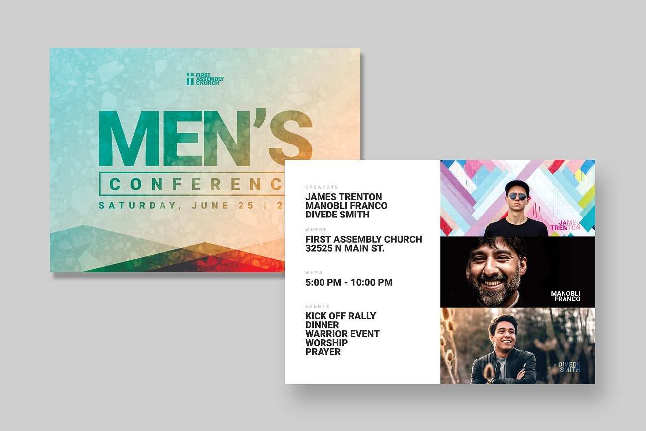 mens event postcard