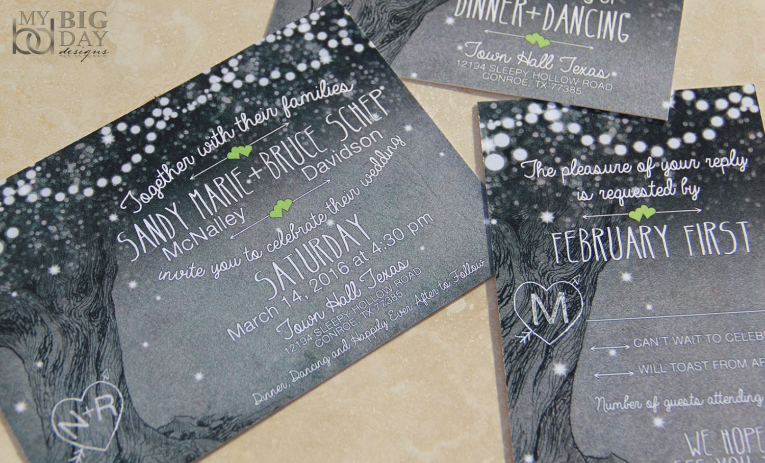 midnight sparkle wedding invitation