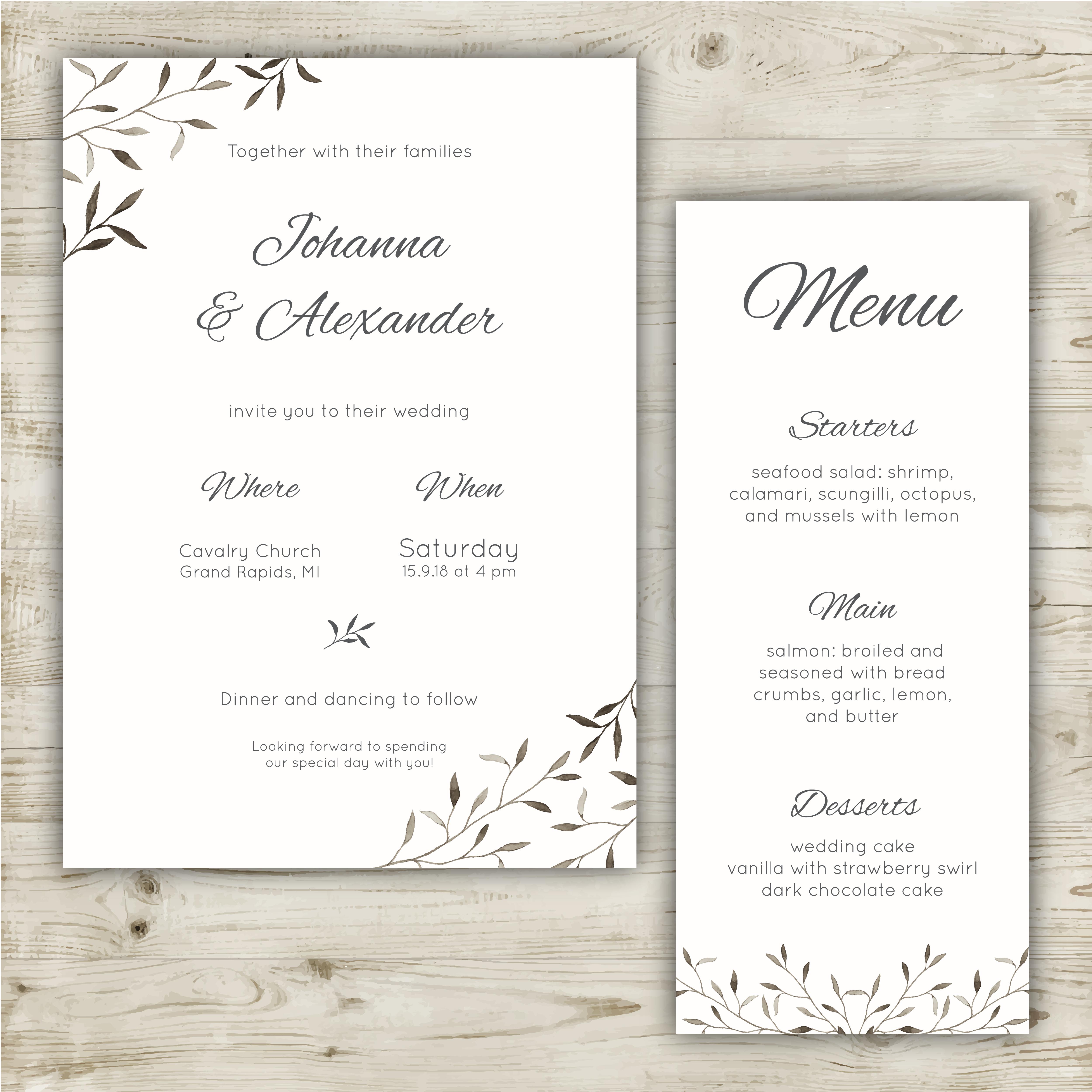minimalist wedding party invitation