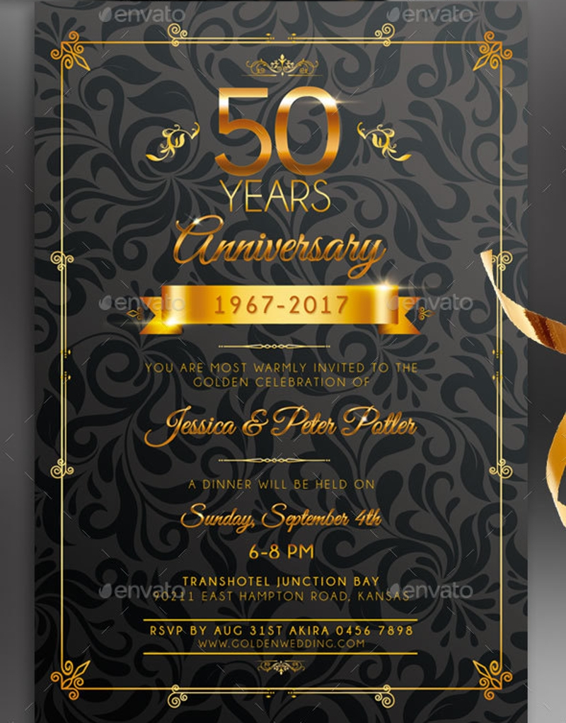 Wedding Anniversary Invitation Designs And Examples Psd Jpg 800x1021 50th Birthday Formal Posters