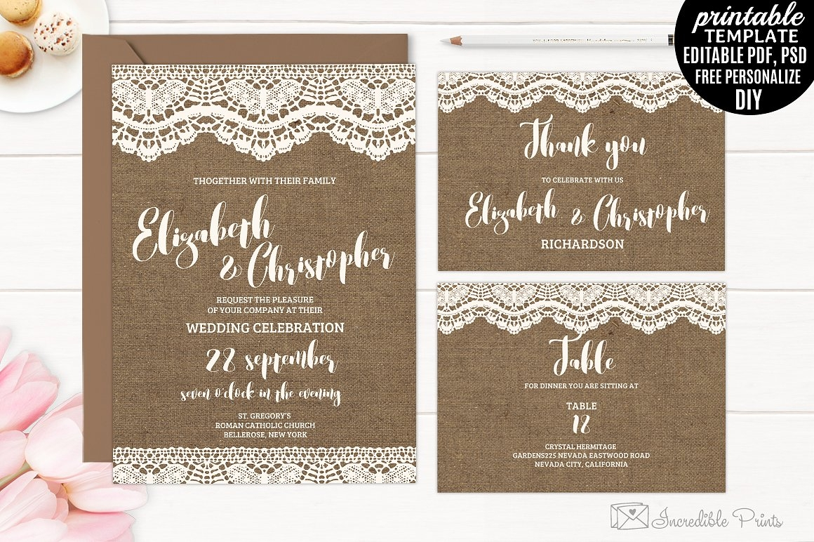 modern burlap wedding invitation