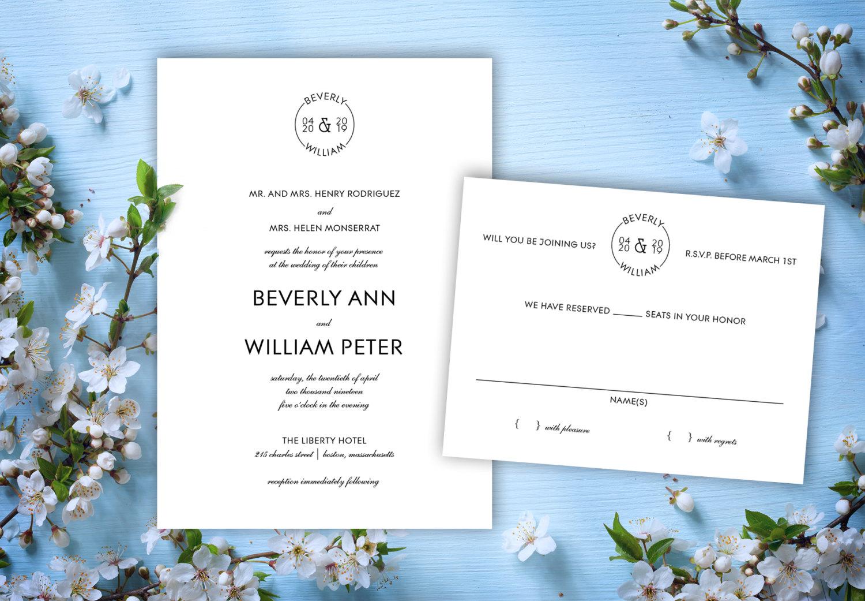 modern minimalist wedding invitation