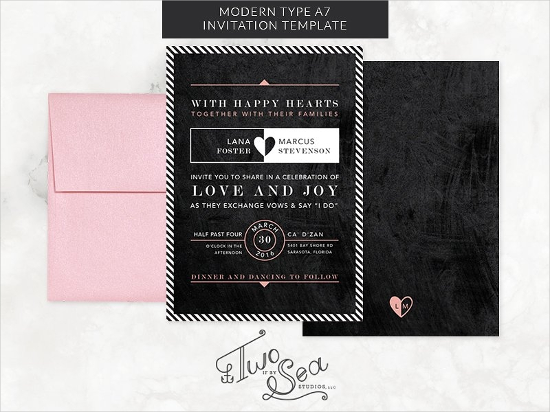 modern type chalkboard wedding invitation