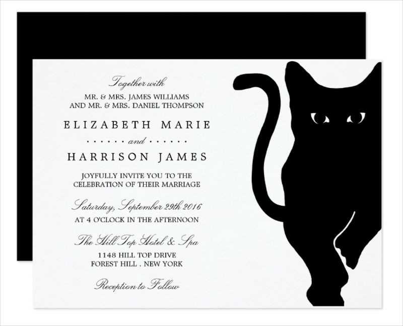 modern whimsical black cat wedding invitation