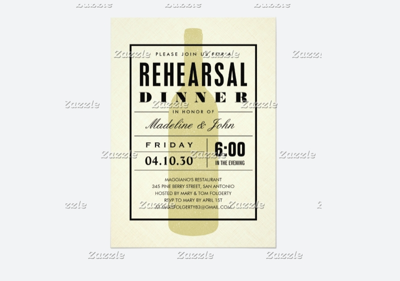 modern wine wedding rehearsal invitation