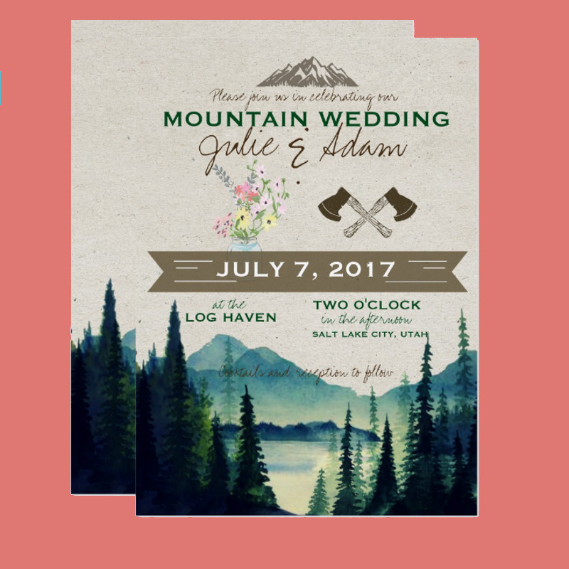 mountain wedding party invitation