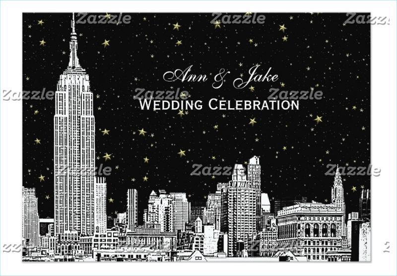 nyc skyline etch starry diy bg wedding invitation