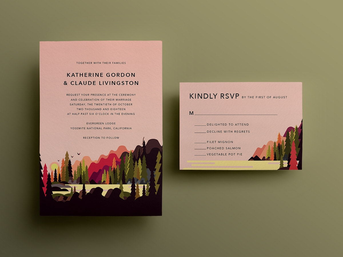 national park forest wedding invitation