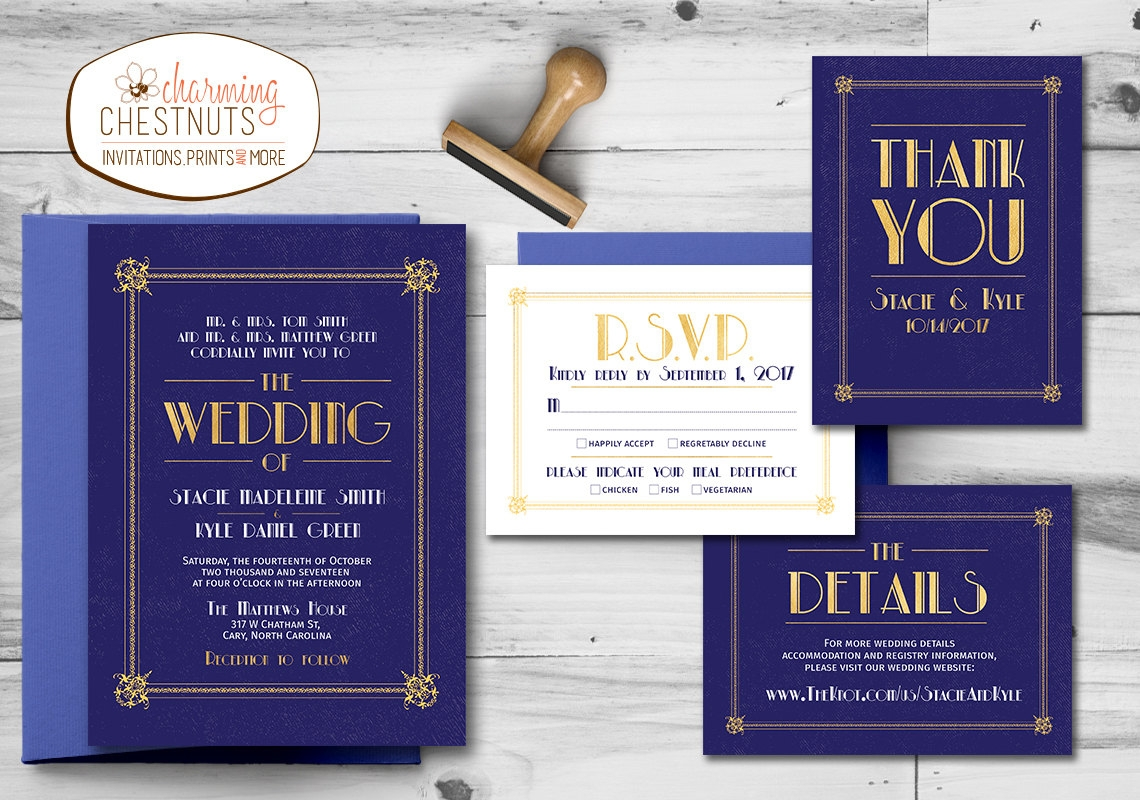 navy and gold art deco wedding invitation