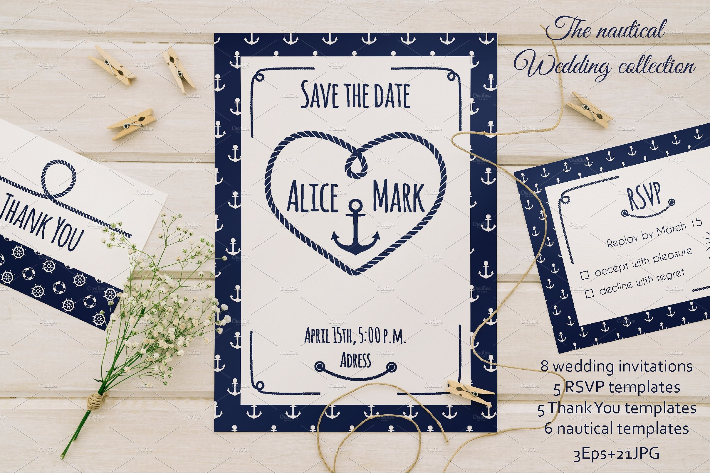 15+ Nautical Wedding Invitation Designs and Examples - PSD, AI