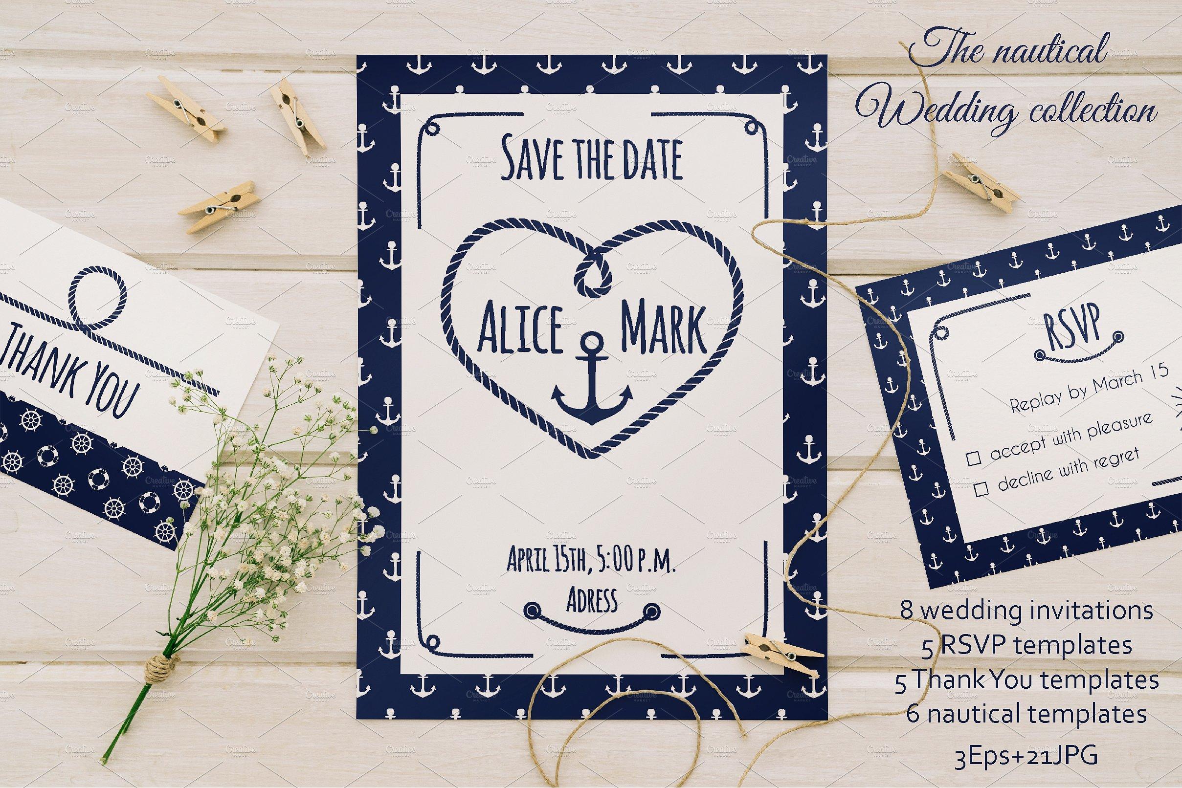 ocean nautical wedding invitation