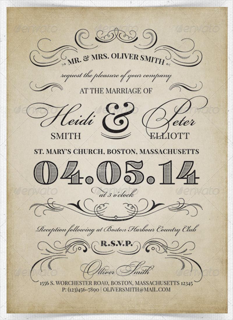 ornaments vintage wedding invitation
