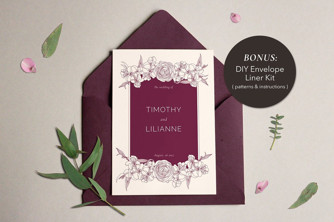 phonecian floral wedding invitation