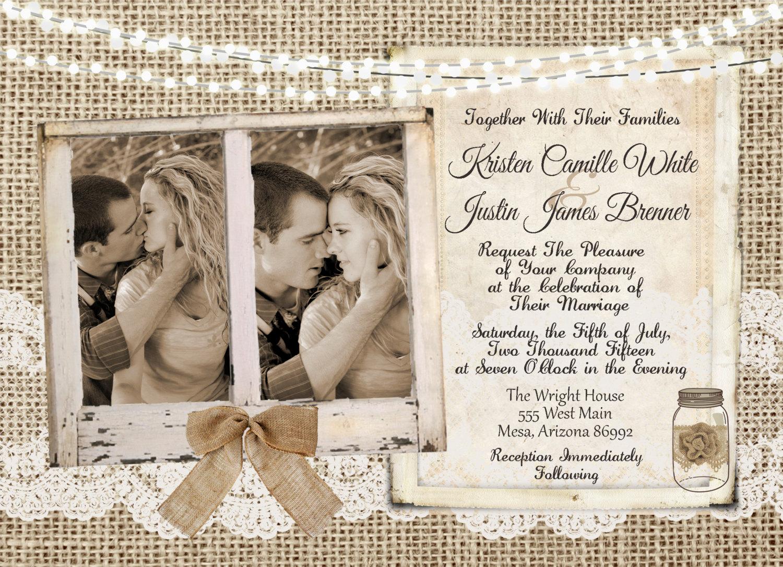 photo lace wedding invitation