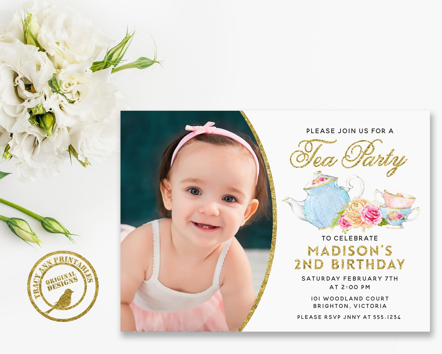 photo tea party invitation