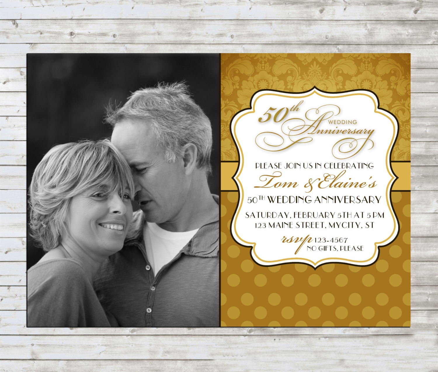 photo wedding anniversary invitation