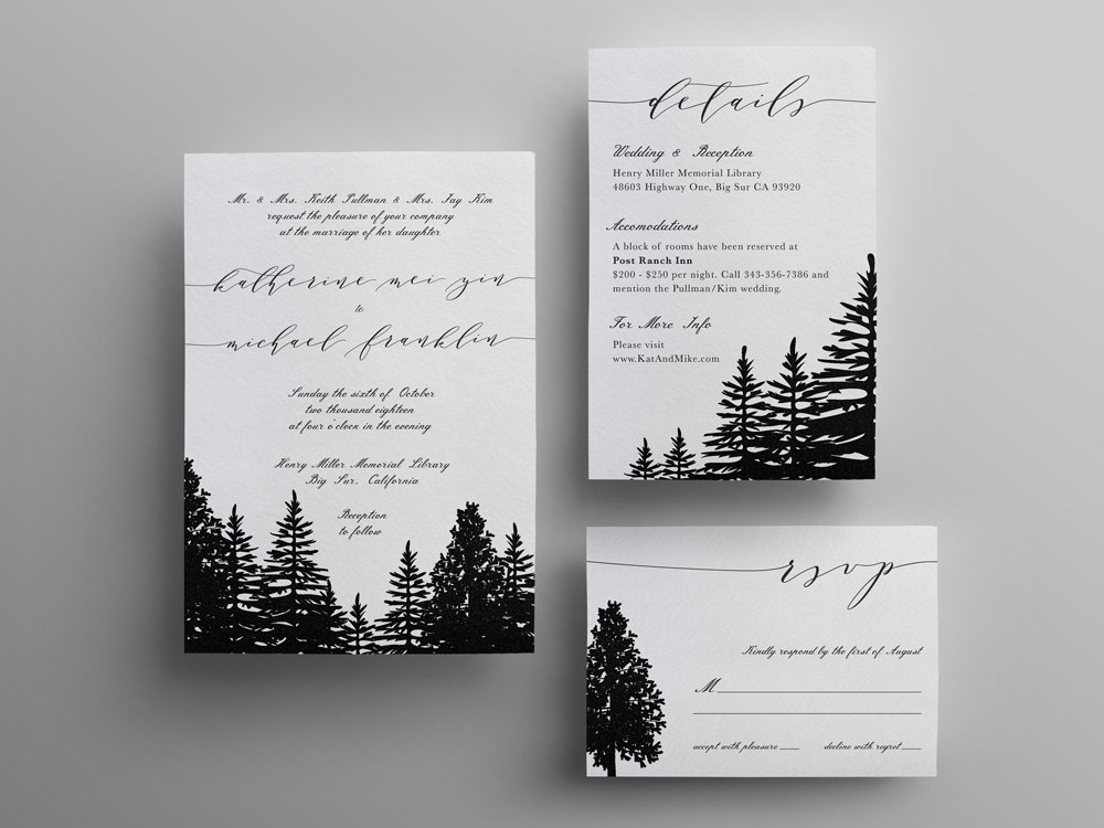 pine tree forest wedding invitation