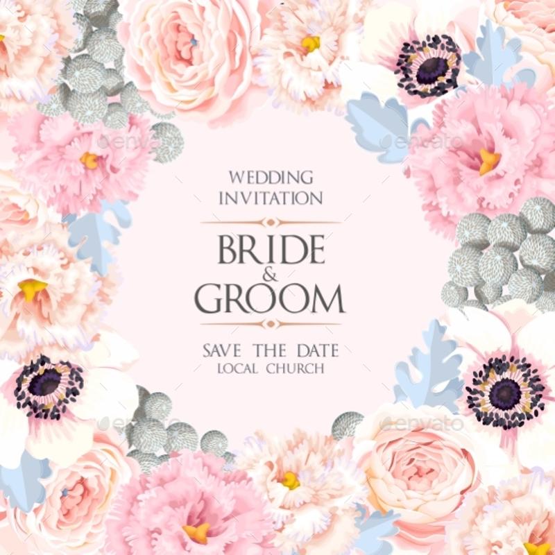 pink floral wedding invitation1