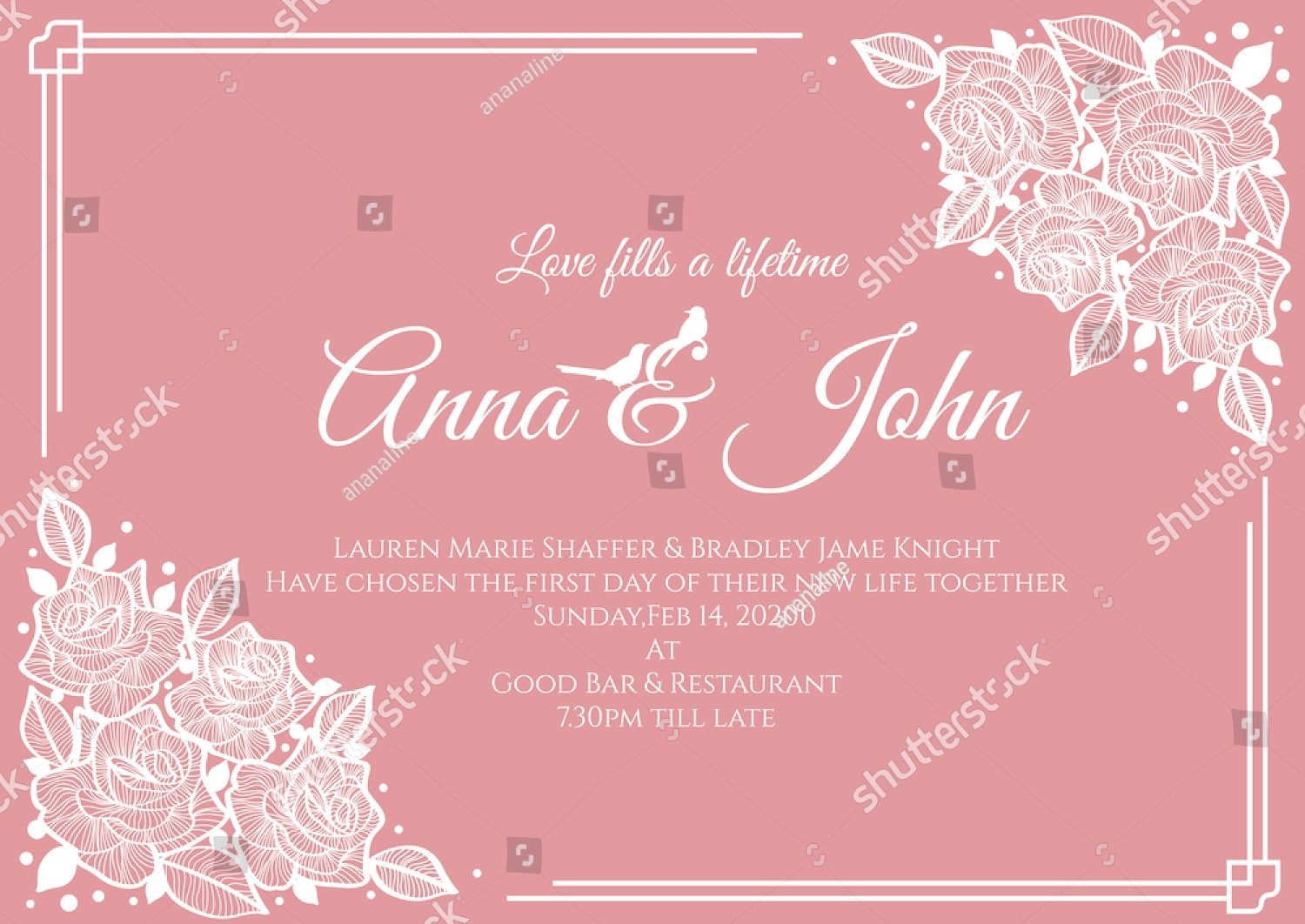 pink floral wedding invitation2