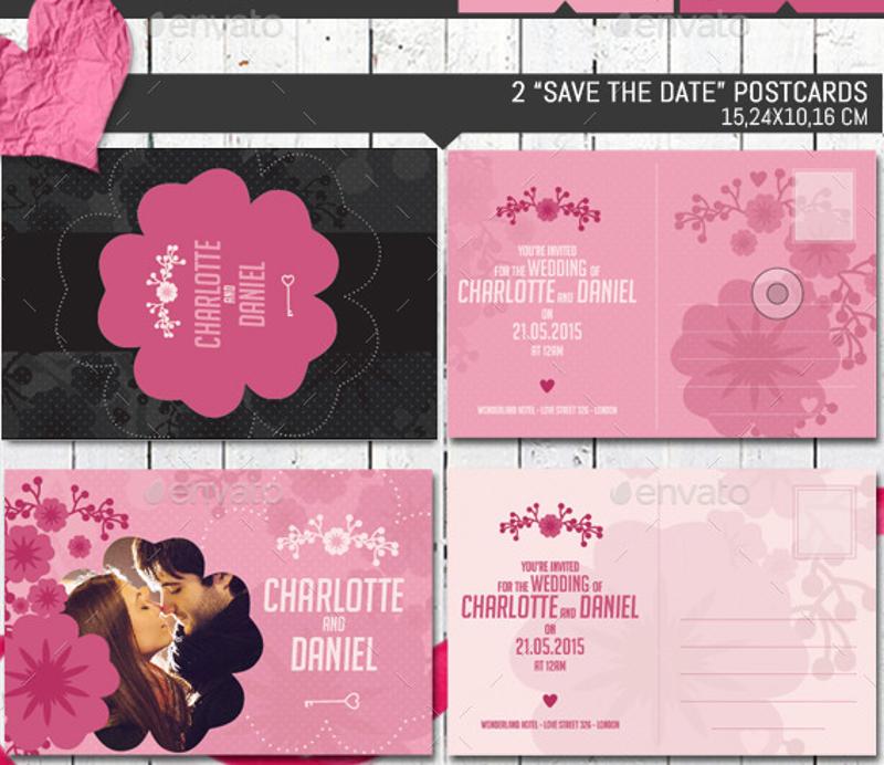 pink romantic wedding invitation