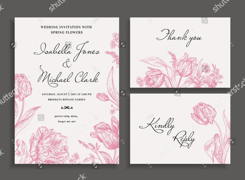 pink rustic wedding invitation