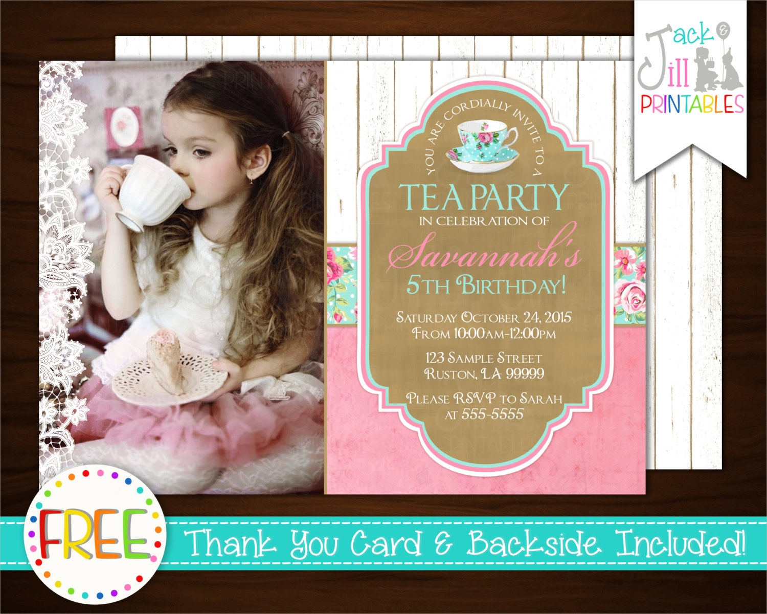 princess tea party invitation1