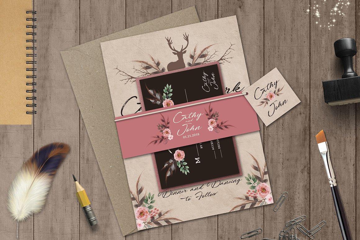 printable boho wedding invitation