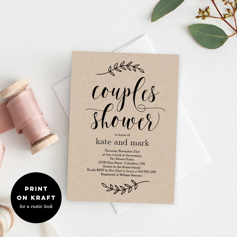 printable couples shower invitation