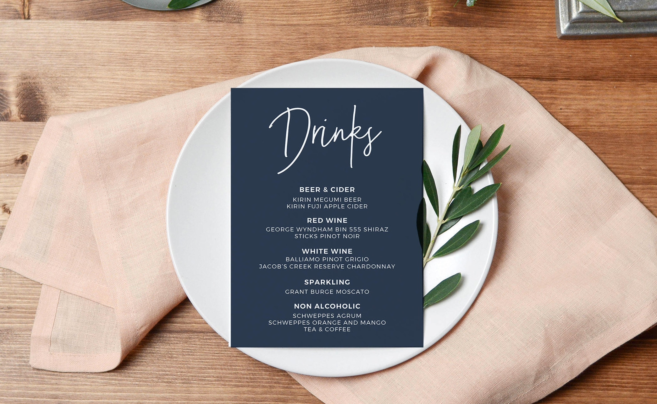 printable drink menu design