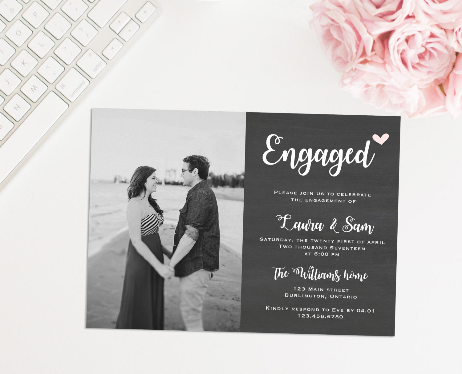 printable photo engagement invitation