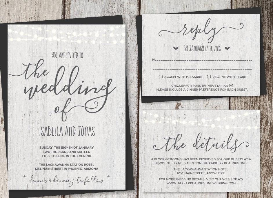 printable rustic wedding invitation
