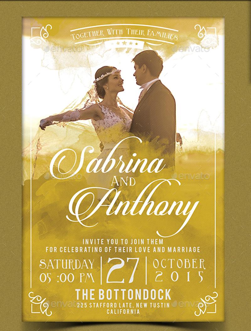 printable watercolor wedding invitation