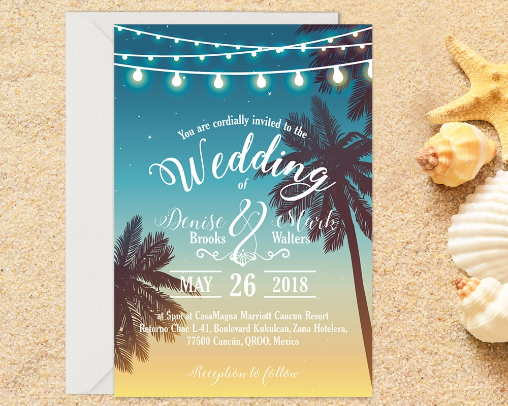 printed beach wedding invitation