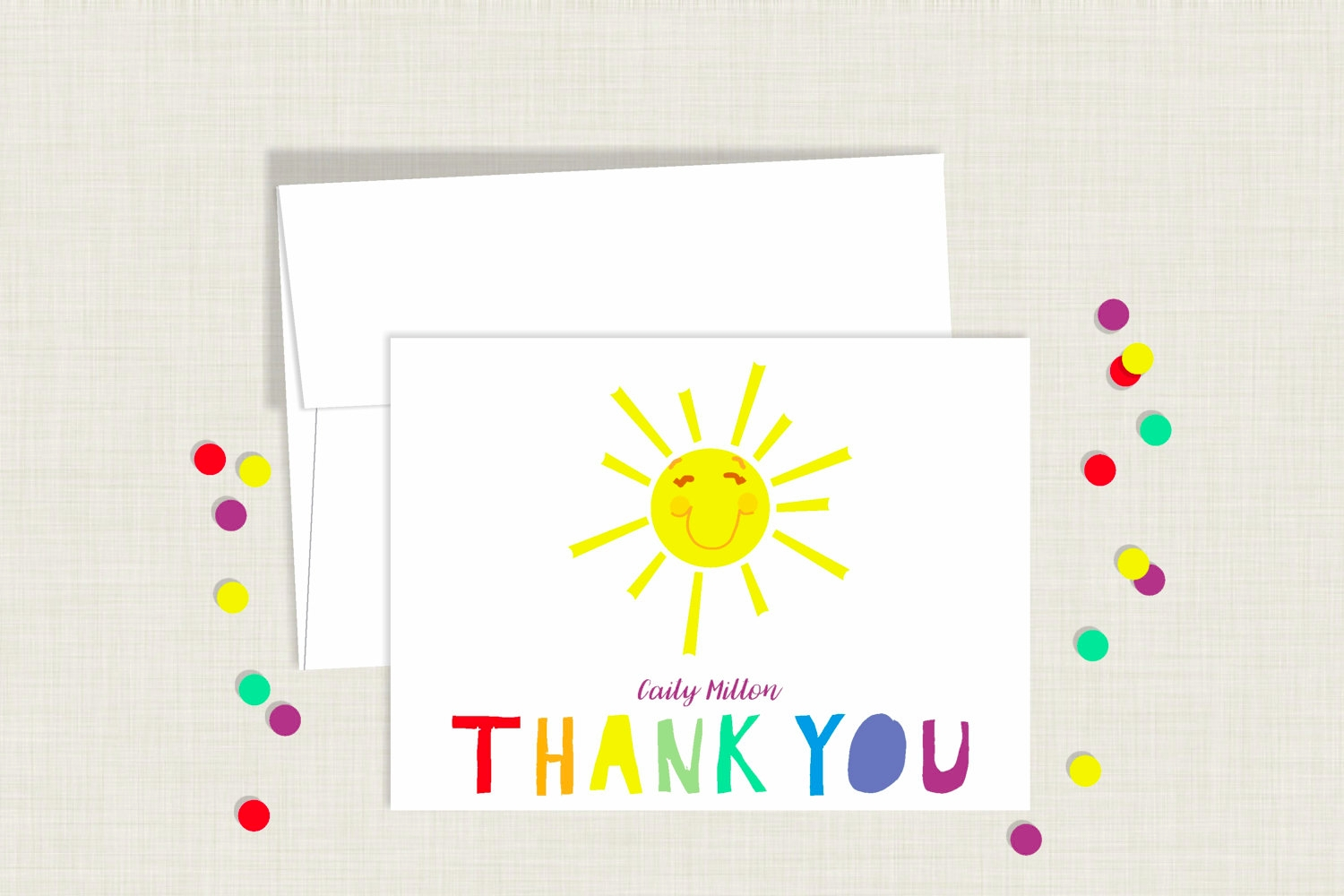 rainbow kids thank you card