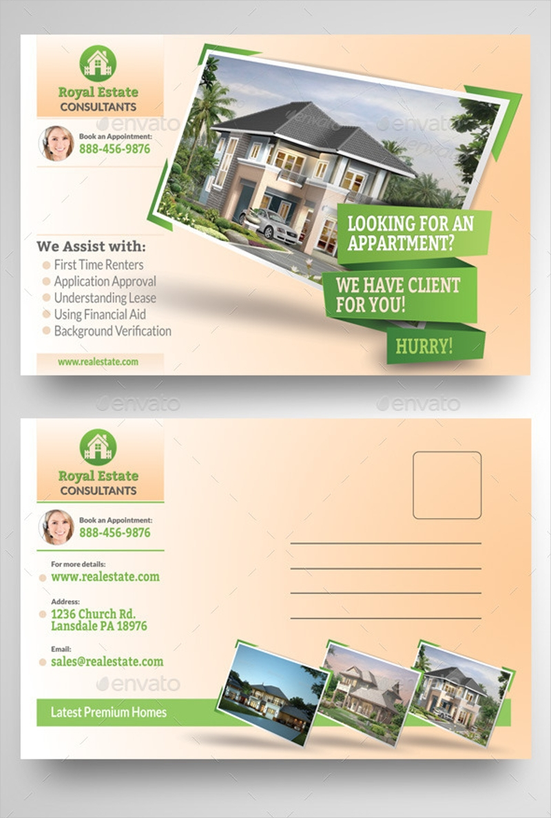 real estate consultant postcard