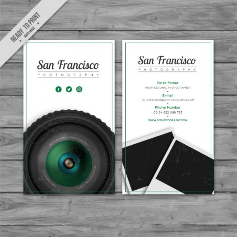 realistic business card for a photography studio