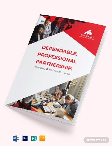 recruitment company bi fold brochure template