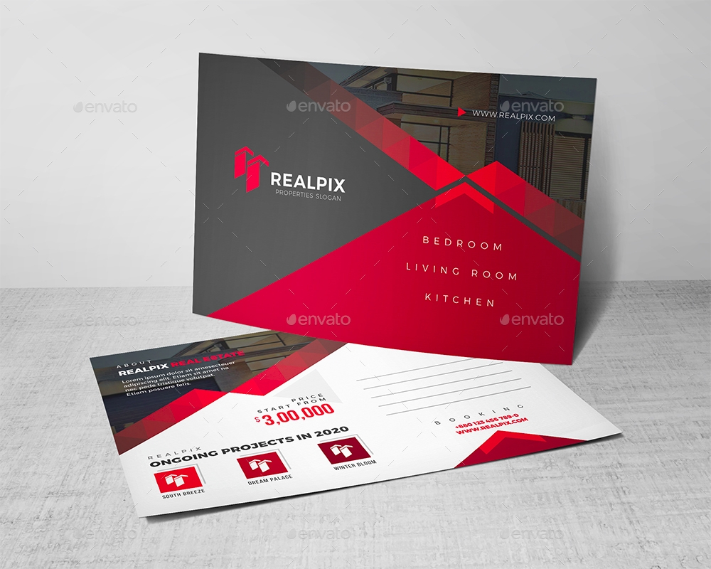 red real estate postcard