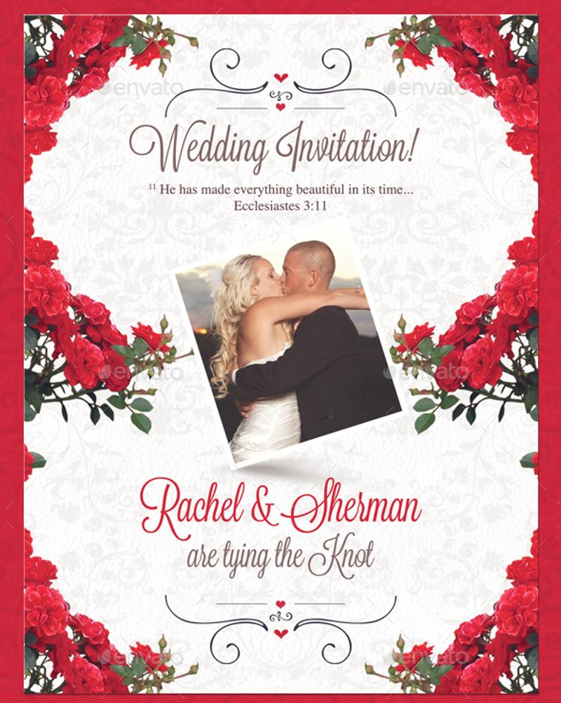 red white floral wedding invitation