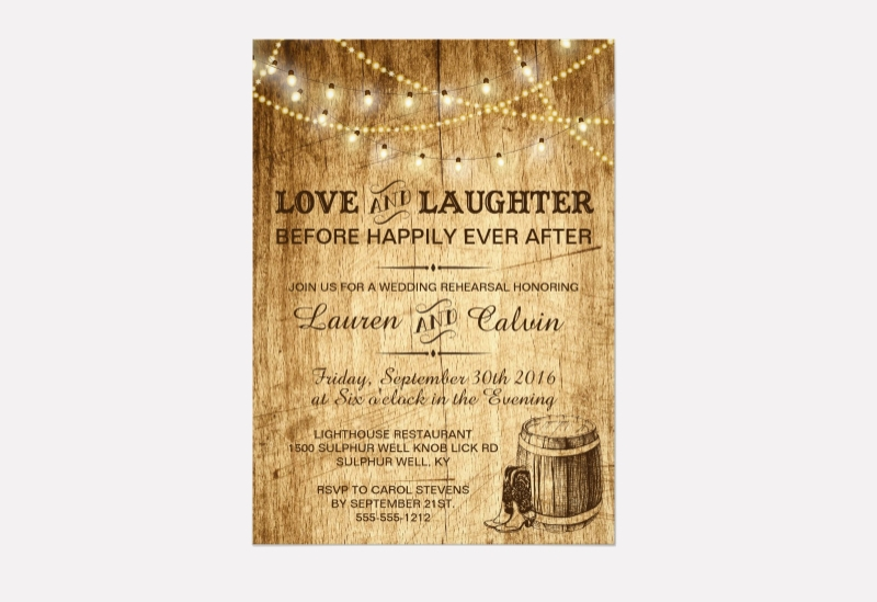 rehearsal invitation for country wedding