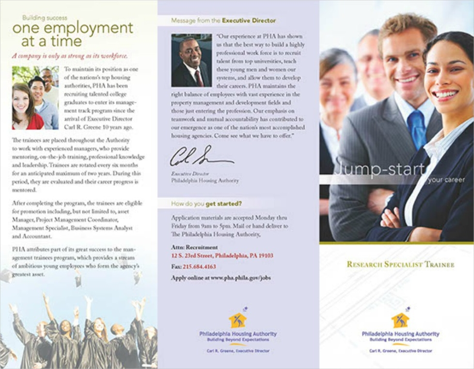 Research Trainee Recruitment Tri-fold Brochure
