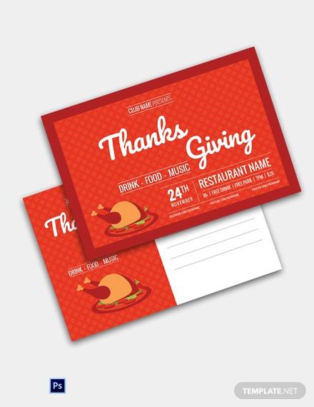 restaurant thanksgiving postcard template