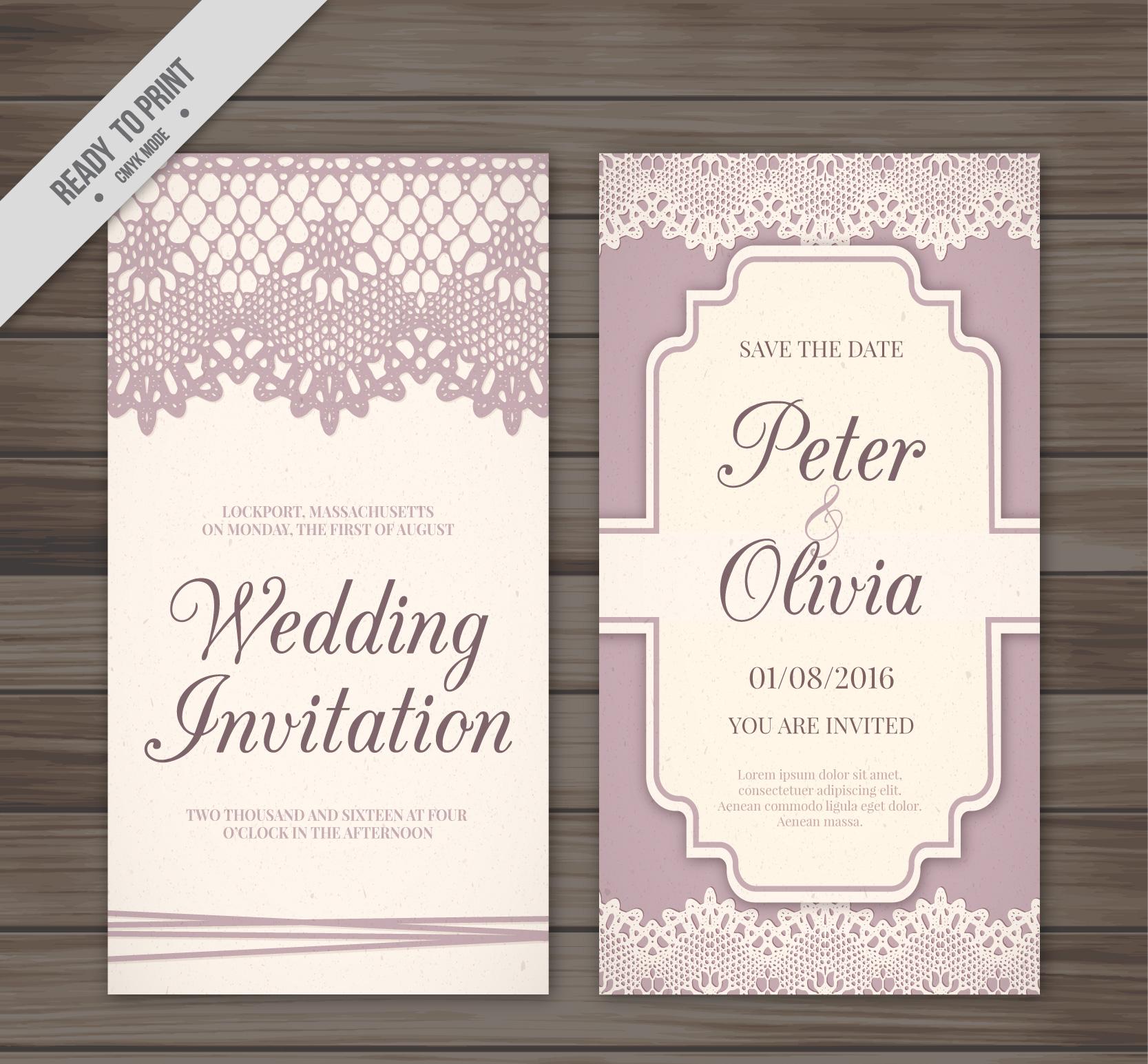 retro decorative lace wedding invitation