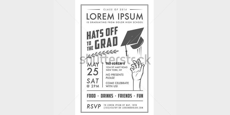 retro graduation party invitation