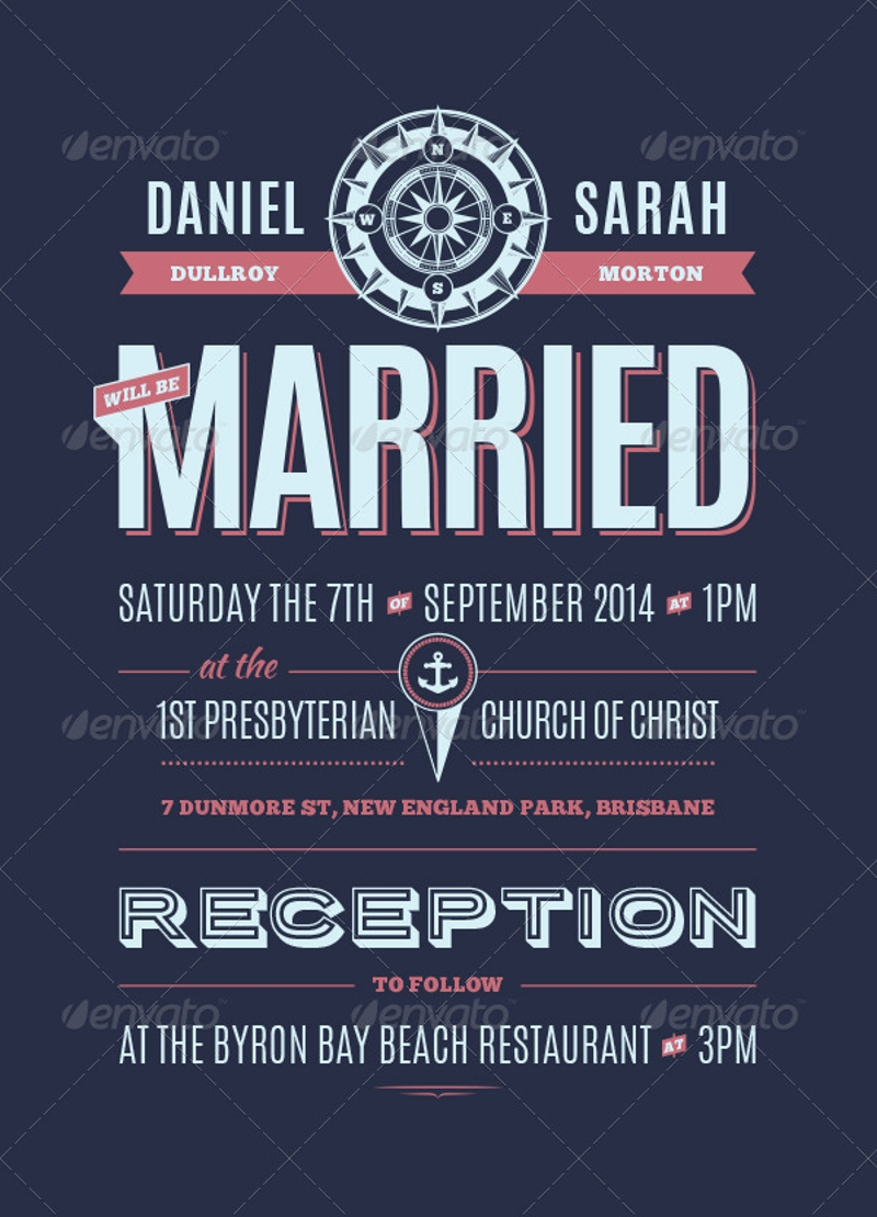 retro nautical wedding invitation
