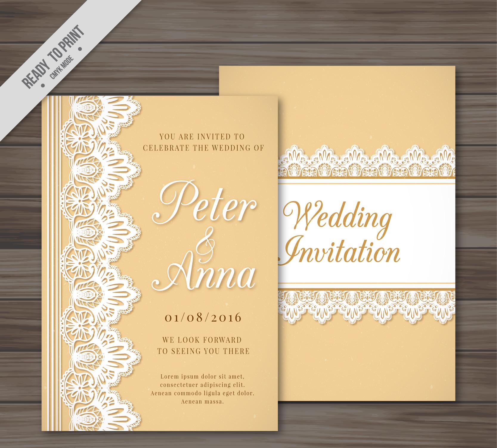 retro style lace design wedding invitation