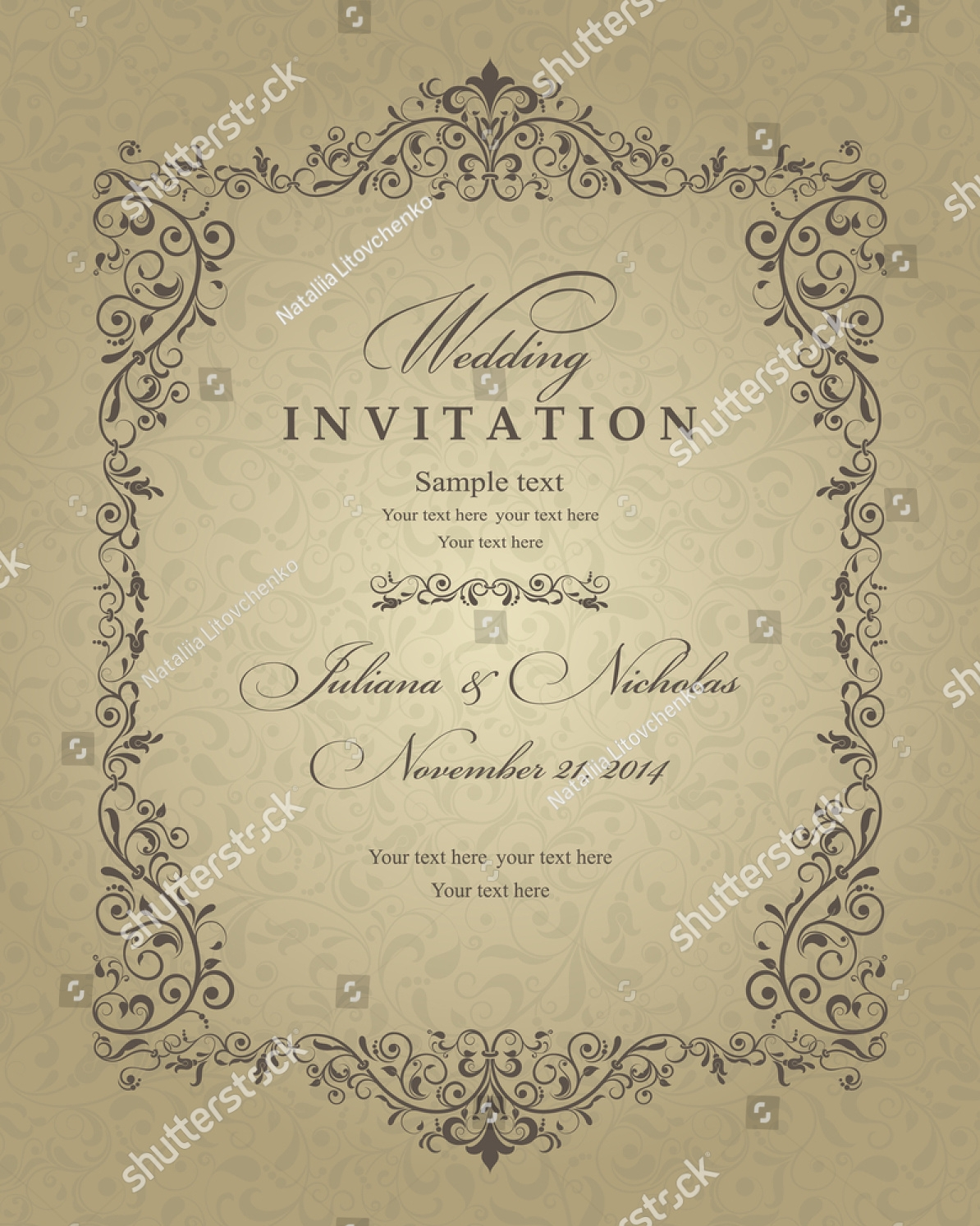 retro traditional wedding invitation
